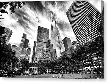 Canvas Print featuring the photograph Looking Up In Bryant Park by John Rizzuto