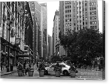 Ny Police Department Canvas Print - Looking Uptown Mono by John Rizzuto