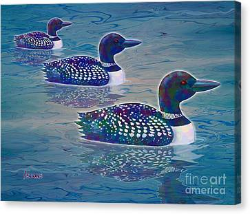 Canvas Print featuring the painting Loon Lagoon by Teresa Ascone