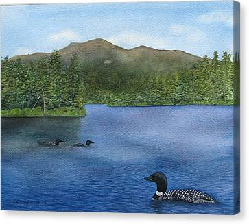 Loon Lake Canvas Print by Sharon Farber