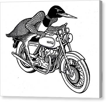 Loon Canvas Print - Loonie Rider On Norton by John Cullen