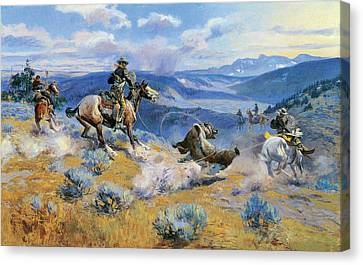 Loops And Swift Horses Are Surer Than Lead Canvas Print by Charles Russell