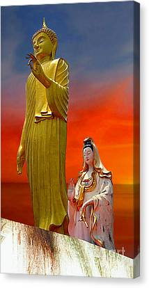 Lord Buddha And Quan Yin Canvas Print