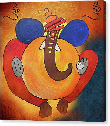 Lord Ganesha Art Canvas Print by Art Spectrum