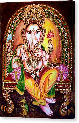 Canvas Print featuring the painting Lord Ganesha by Harsh Malik