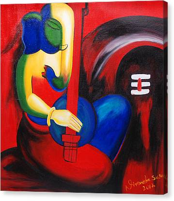 Lord Ganesha Making Music Canvas Print by Nirendra Sawan