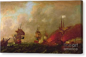 Lord Howe And The Comte Destaing Off Rhode Island Canvas Print by Robert Wilkins