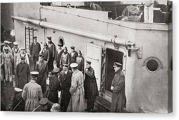 Lord Kitchener Boarding Hms Hampshire Canvas Print by Vintage Design Pics