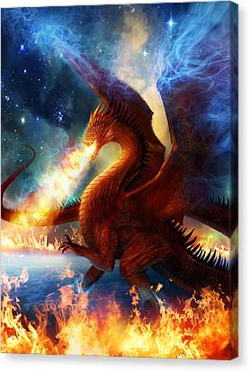 Mythology Canvas Print - Lord Of The Celestial Dragons by Philip Straub