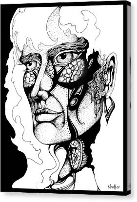 Canvas Print featuring the drawing Lord Of The Flies Study by Curtiss Shaffer