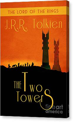Lord Of The Rings The Two Towers Book Cover Movie Poster Art 1 Canvas Print by Nishanth Gopinathan