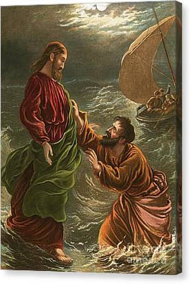 Lord, Save Me Canvas Print by English School
