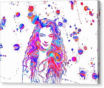 Lorde Colorful Paint Splatter Canvas Print by Dan Sproul
