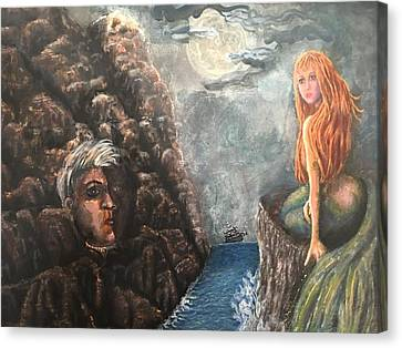 Lorelie On A Rock Canvas Print by Cena Caterine