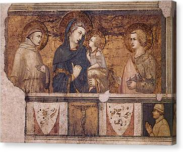 Lorenzetti Pietro Madonna With St Francis And St John The Evangelist Canvas Print