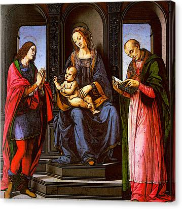 Lorenzo Di Credi The Virgin And Child With St Julian And St Nicholas Of Myra Canvas Print