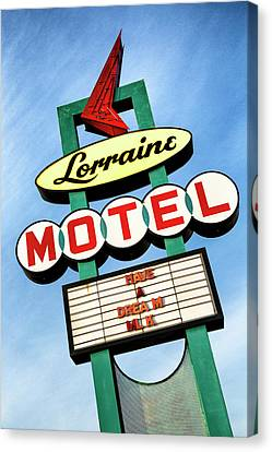 Martin Luther King Jr Canvas Print - Lorraine Motel Sign by Stephen Stookey