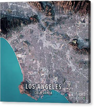 Los Angeles 3d Render Satellite View Topographic Map Canvas Print by Frank Ramspott