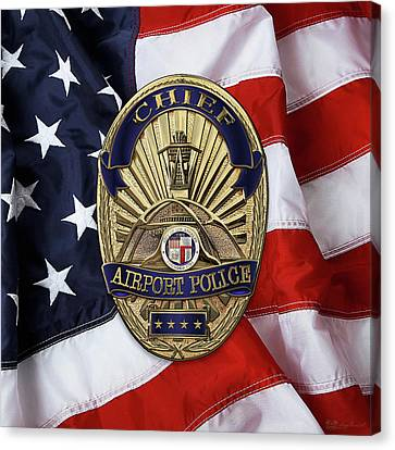 Police Art Canvas Print - Los Angeles Airport Police Division - L A X P D  Chief Badge Over American Flag by Serge Averbukh