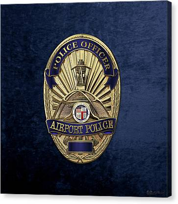 Police Art Canvas Print - Los Angeles Airport Police Division - L A X P D  Police Officer Badge Over Blue Velvet by Serge Averbukh