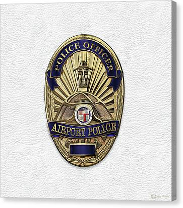 Los Angeles Airport Police Division - L A X P D  Police Officer Badge Over White Leather Canvas Print