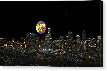 Los Angeles And The Super Alien Moon Canvas Print by Kenneth James