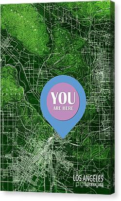 Los Angeles California 1894 Green Old Map You Are Here Canvas Print