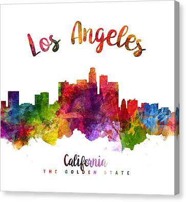 Los Angeles California Skyline 23 Canvas Print by Aged Pixel