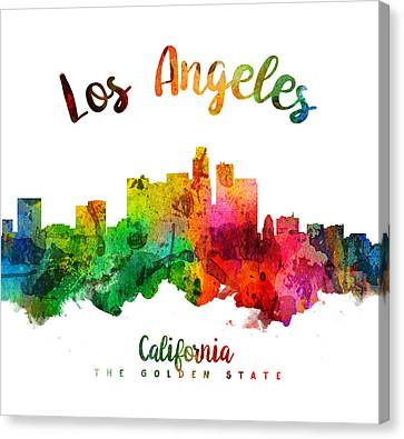 Los Angeles California Skyline 24 Canvas Print by Aged Pixel