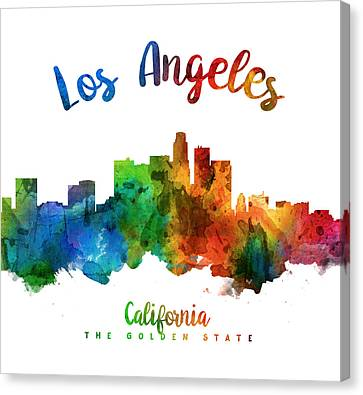 Los Angeles California Skyline 25 Canvas Print by Aged Pixel