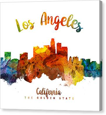 Los Angeles California Skyline 26 Canvas Print by Aged Pixel