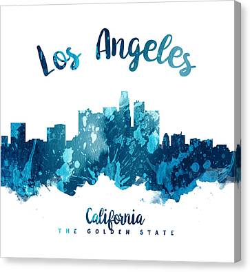 Los Angeles California Skyline 27 Canvas Print by Aged Pixel