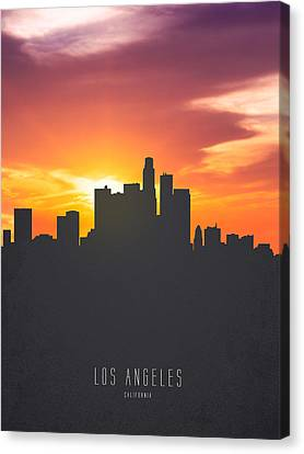 Los Angeles California Sunset Skyline 01 Canvas Print by Aged Pixel