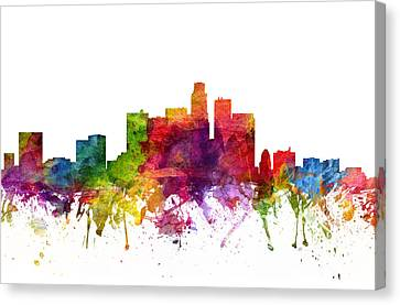Los Angeles Cityscape 06 Canvas Print by Aged Pixel