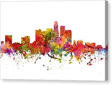 Los Angeles Cityscape 08 Canvas Print by Aged Pixel