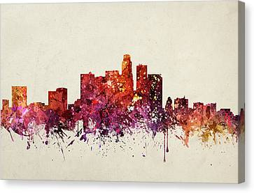 Los Angeles Cityscape 09 Canvas Print by Aged Pixel