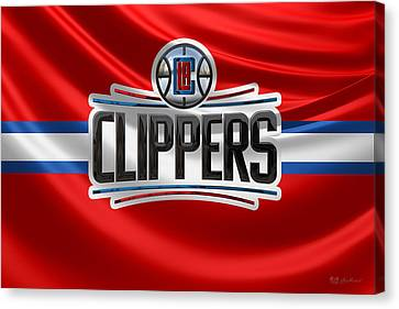 Basketball Collection Canvas Print - Los Angeles Clippers - 3 D Badge Over Flag by Serge Averbukh