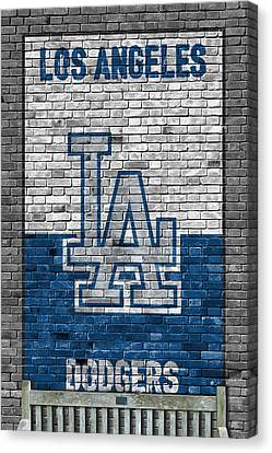 Baseball Fields Canvas Print - Los Angeles Dodgers Brick Wall by Joe Hamilton