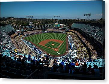 Canvas Print featuring the photograph Los Angeles Dodgers Dodgers Stadium Baseball 2043 by David Haskett