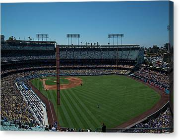 Canvas Print featuring the photograph Los Angeles Dodgers Dodgers Stadium Baseball 2063 by David Haskett