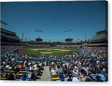 Canvas Print featuring the photograph Los Angeles Dodgers Dodgers Stadium Baseball 2110 by David Haskett