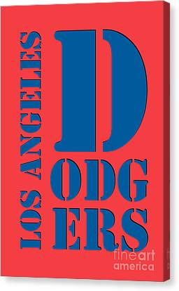 Los Angeles Dodgers Typography Orange Canvas Print by Pablo Franchi