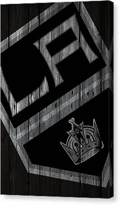 Los Angeles Kings Wood Fence Canvas Print by Joe Hamilton