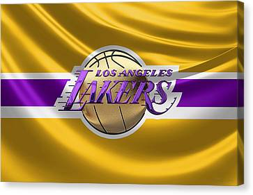 Basketball Collection Canvas Print - Los Angeles Lakers - 3 D Badge Over Flag by Serge Averbukh