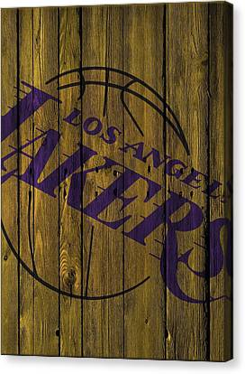 Los Angeles Lakers Wood Fence Canvas Print by Joe Hamilton