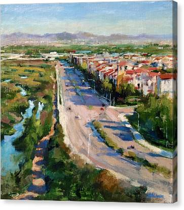 Los Angeles - Playa Vista From South Bluff Trail Road Canvas Print by Peter Salwen