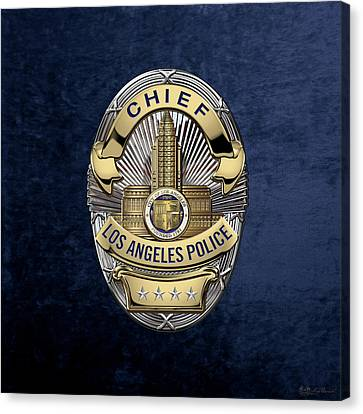 Los Angeles Police Department  -  L A P D  Chief Badge Over Blue Velvet Canvas Print by Serge Averbukh