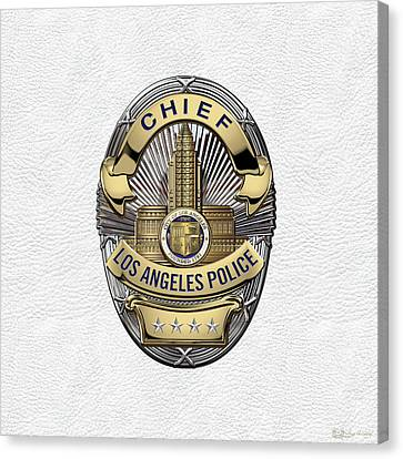 Police Art Canvas Print - Los Angeles Police Department  -  L A P D  Chief Badge Over White Leather by Serge Averbukh