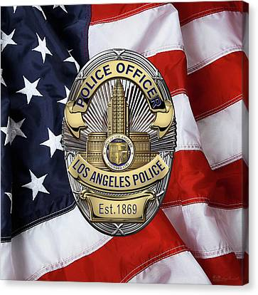 Police Art Canvas Print - Los Angeles Police Department  -  L A P D  Police Officer Badge Over American Flag by Serge Averbukh