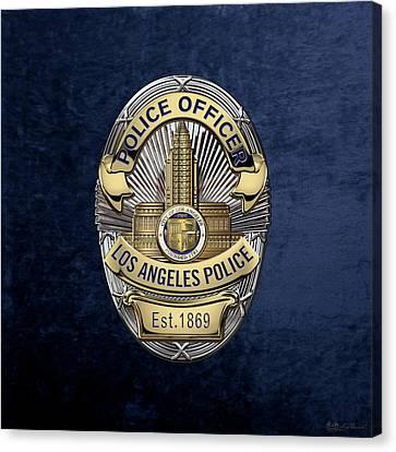 Los Angeles Police Department  -  L A P D  Police Officer Badge Over Blue Velvet Canvas Print
